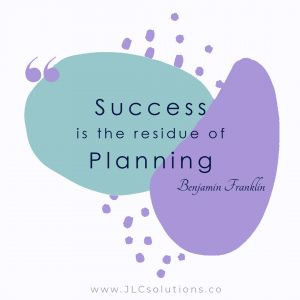 Success is the residue of planning. ~ Benjamin Franklin